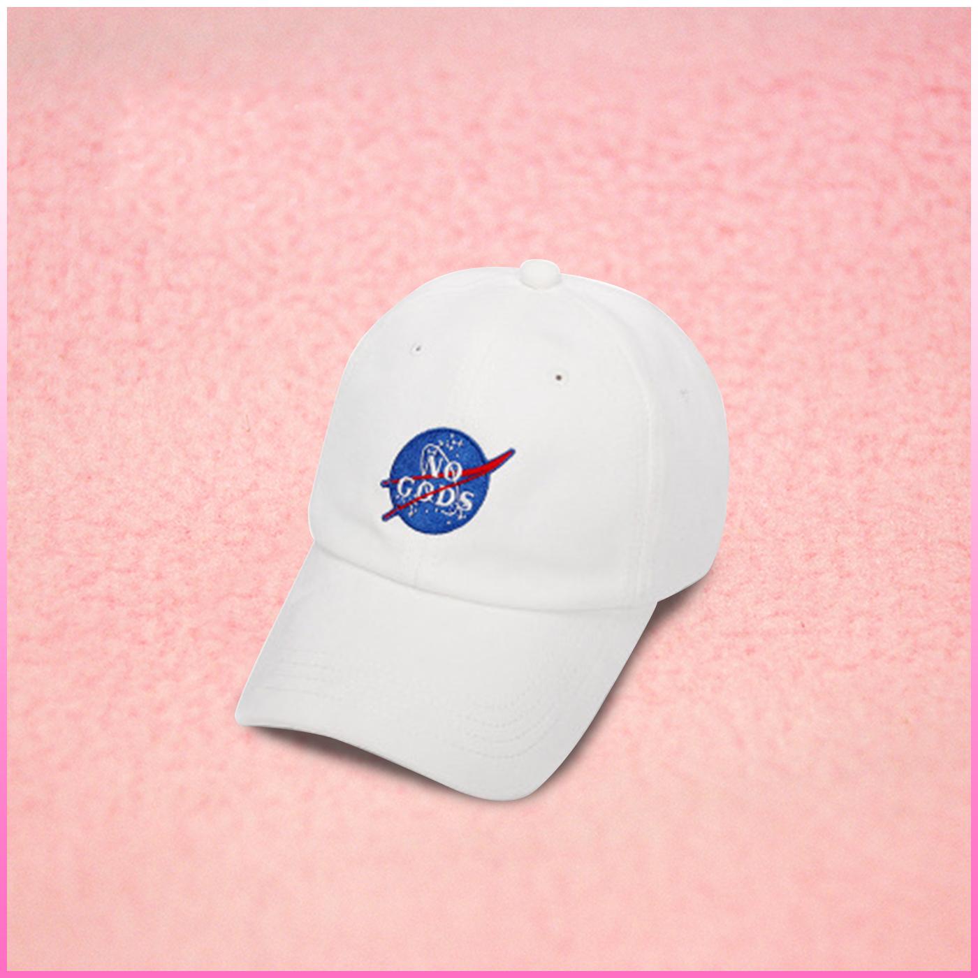 0fae42857cf31 NASA SPOOF NO GOD BASEBALL CAP IN WHITE on Storenvy