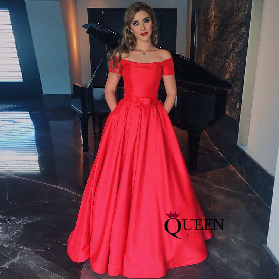 fe187ba0cc6 Elegant Red Satin A-Line Off-The-Shoulder Long Prom Dress