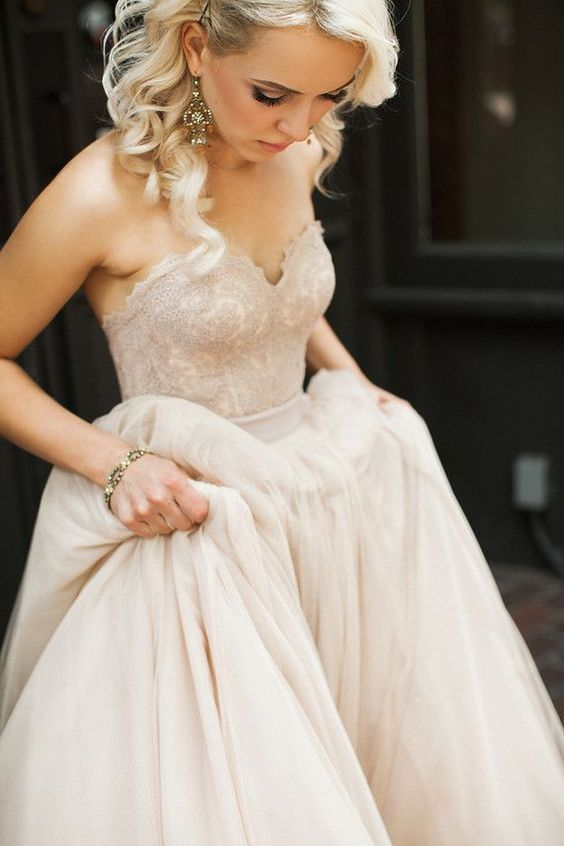 Simple Blush Pink Tulle Wedding Dress,Lace Wedding Dress,Strapless ...