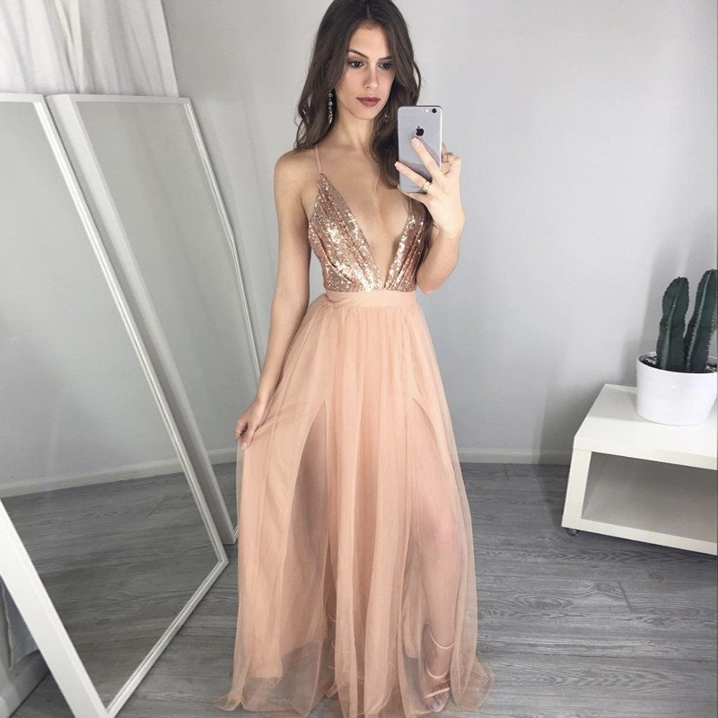 Sexy A-Line Deep V-Neck Sleeveless Long Prom Dress With Sequins on Storenvy 5f2655d4f1f3