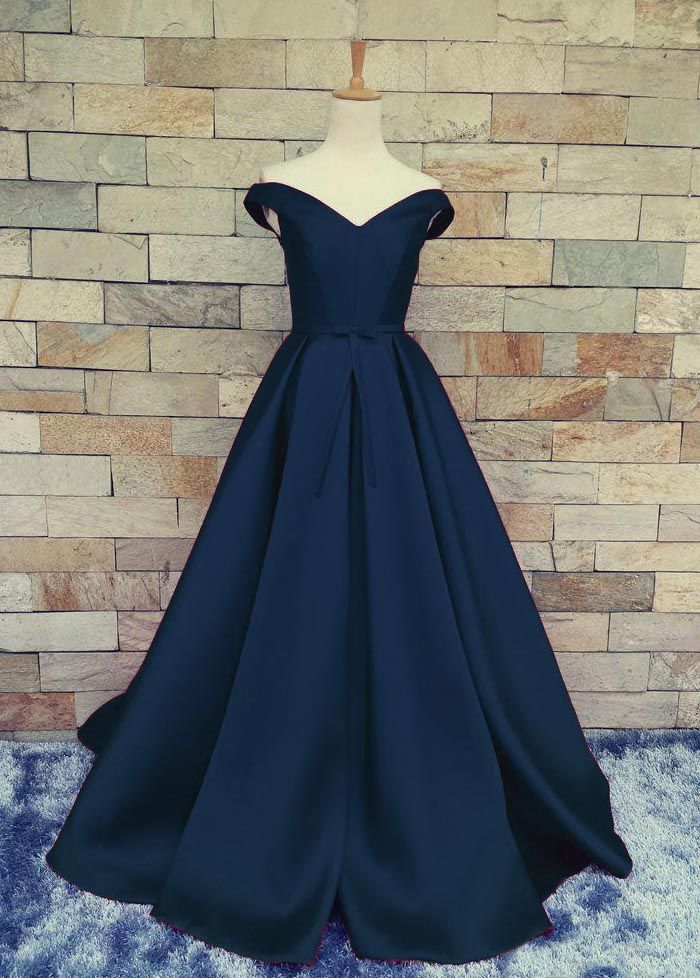 3e8d393ecf3 Simple dark blue off shoulder long prom dress