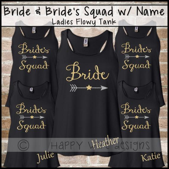 cf83bf28608cb1 Bride and Bridesmaid Tank Top - Brides Squad Sets · Happy Wife ...