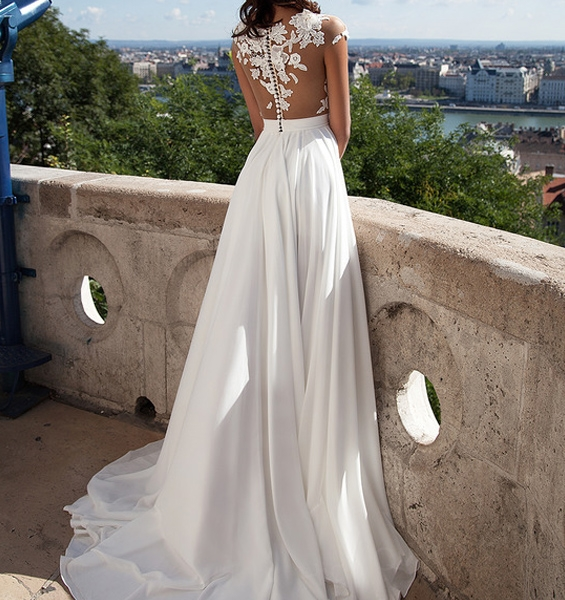 Bridal Gowns With Lace Cap Sleeves: Ivory Lace Beach Wedding Dresses,Front Slit See Through