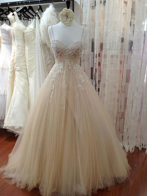 Dress Day Champagne Sweetheart Neck Tulle Lace Prom