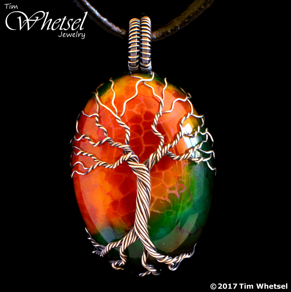 Dragon Vein Agate Sterling Silver Wire Wrapped Tree Of Life