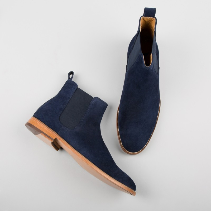 8634a75c8915d Handmade men navy blue boots, suede leather boot for men, chelsea dress  boots