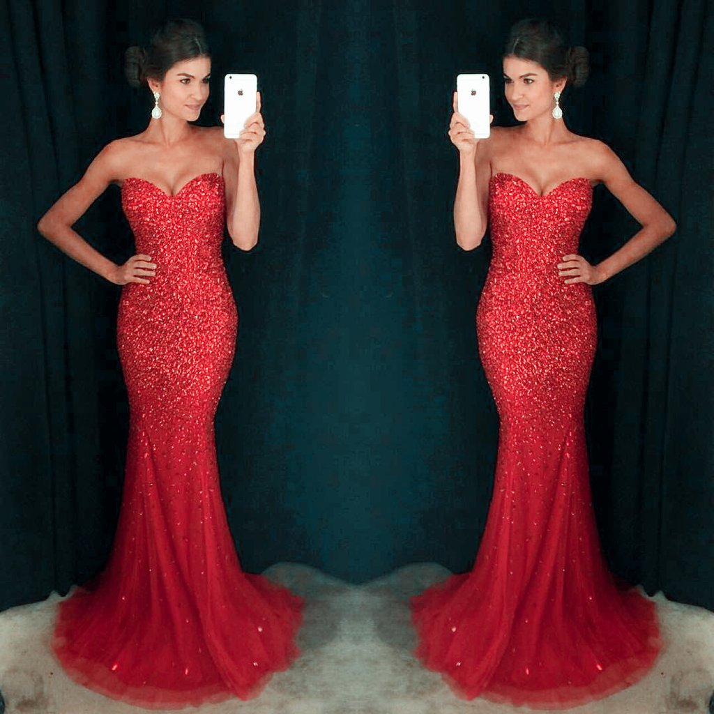 7f82832dac2 Red Mermaid Prom Dress Sweetheart Neck Crystals Shiny Evening Gowns ...