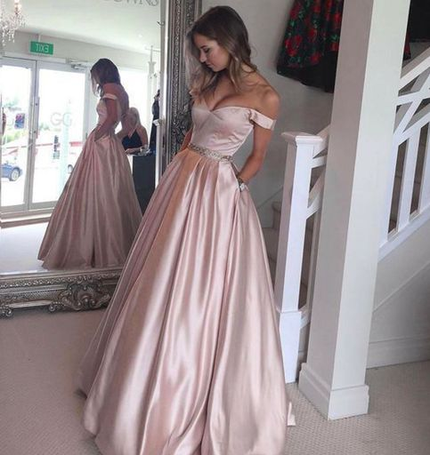 78a64198a7a2 Stylish pink off shoulder long prom dress
