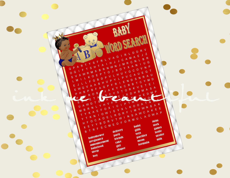 Printable Royal Baby Shower Game Royal Baby Word Search Royal Red