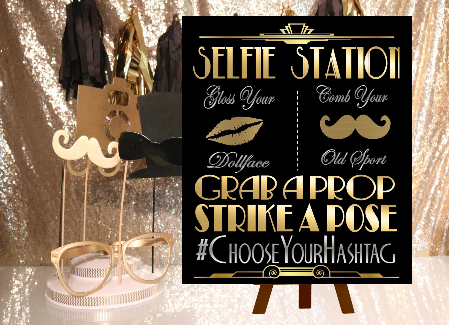Digital File Selfie Station Wedding Hashtag Gatsby Party Decoration