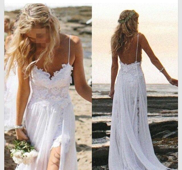 Lace Chiffon Long Beach Wedding Dress ,Handmade Bridal Dress Make to ...