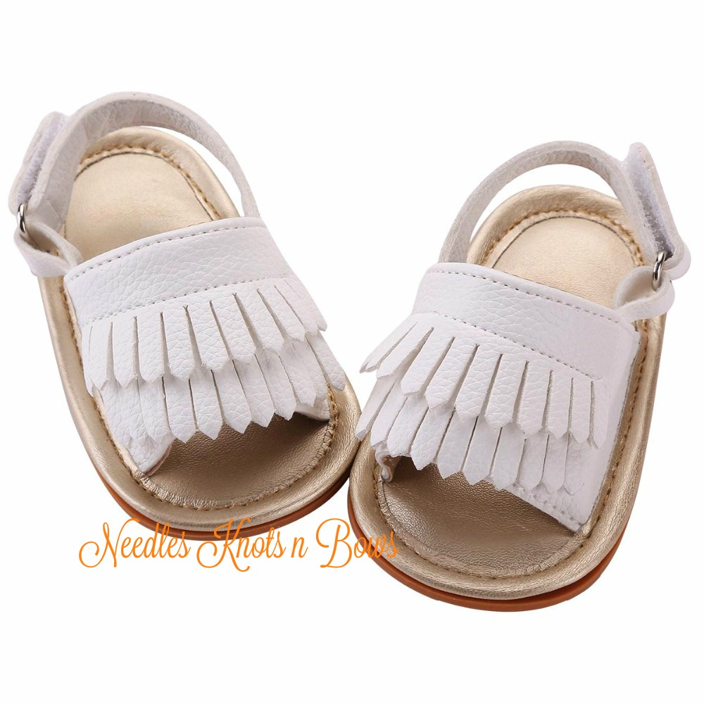 cddb92ca8 White Sandals with Fringe for Baby Girls