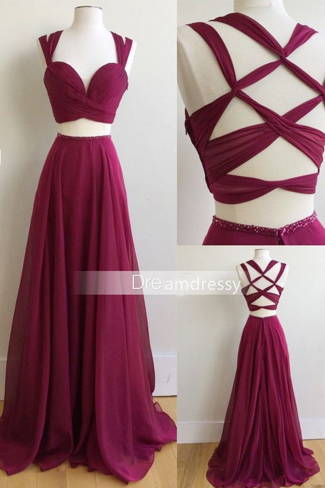 Two Piece Long Prom Dress, 2017 Burgundy Long Prom Dress, Formal ...
