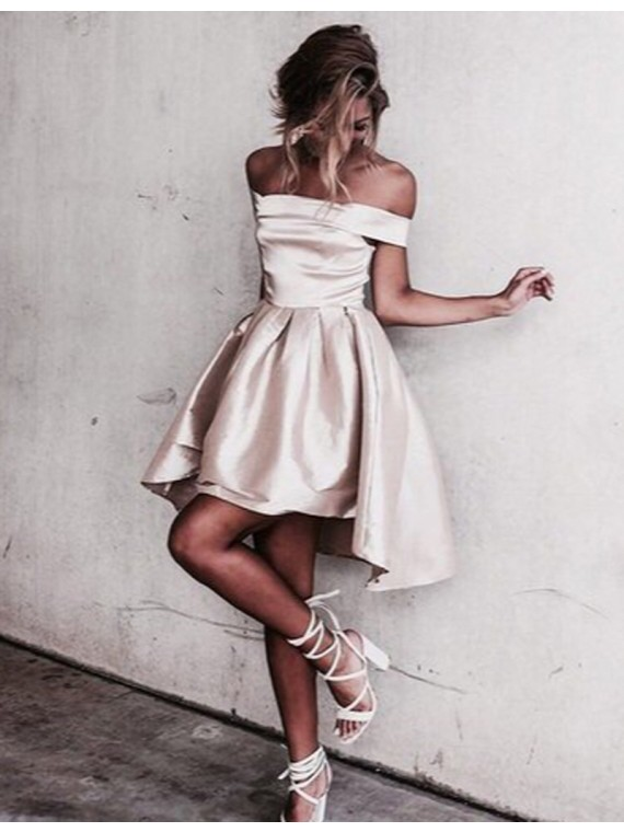 Cute Champagne Off the Shoulder Short Sleeves Pleats High Low Prom ...