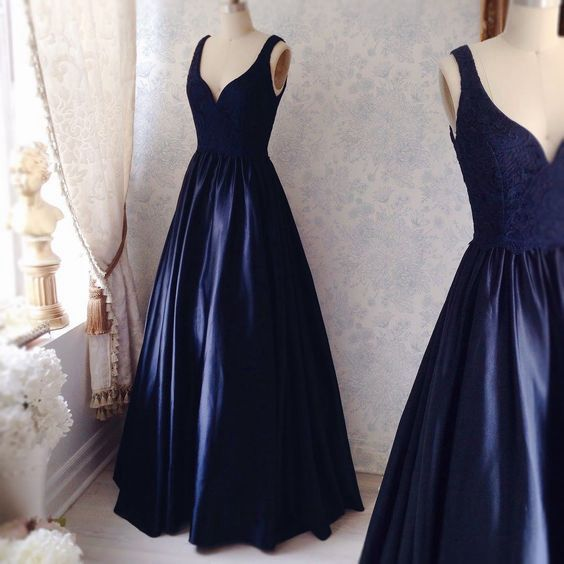 f6d8a781d26 Elegant dark blue lace long prom dress
