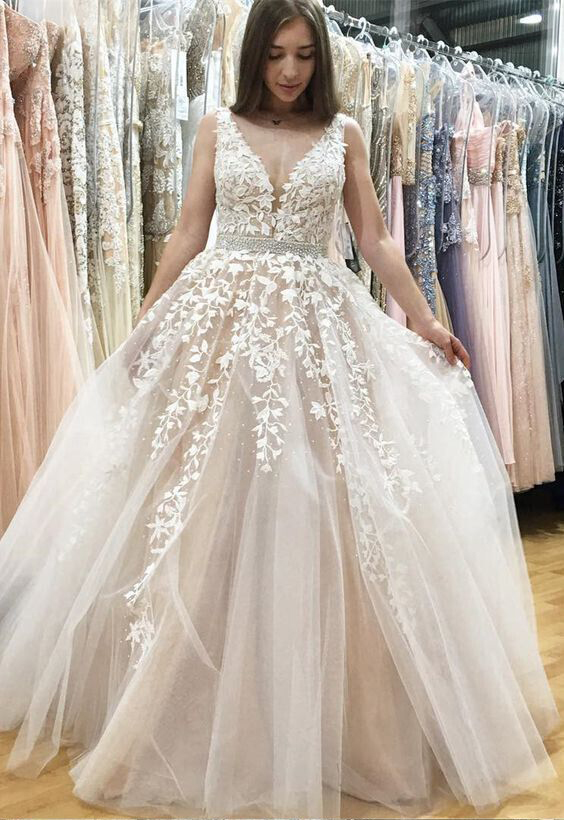 Deep V-neck White Lace Appliqued Nude Prom Dresses,Long Pageant ...