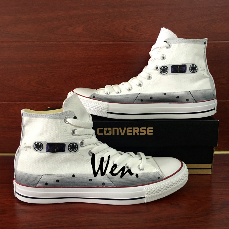 67b02bf2a14a White Cassette Converse Chuck Taylor Wen Hand Painted Shoes Tape ...