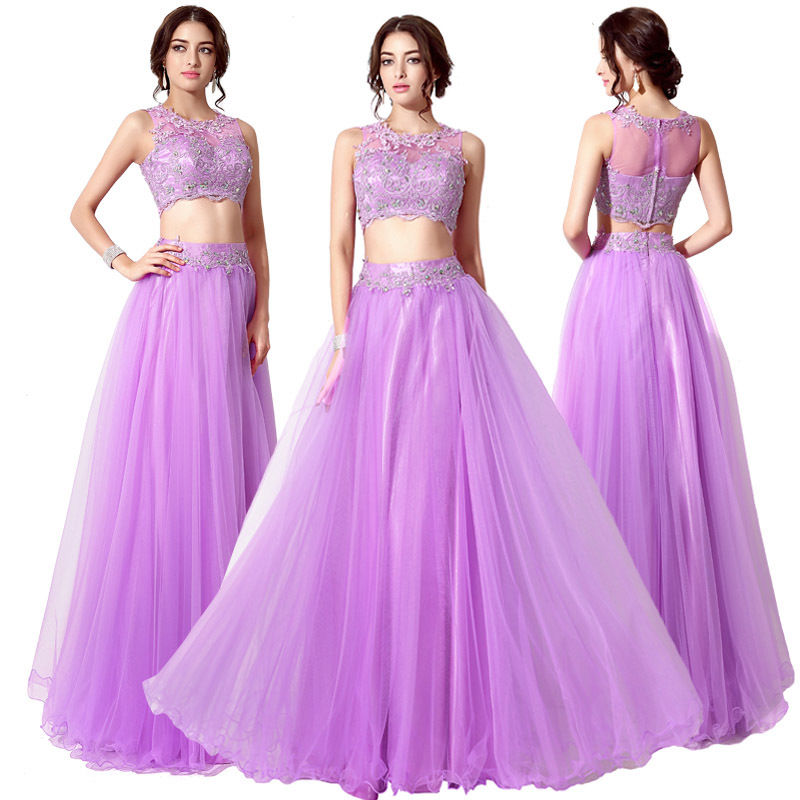 H103 Lavender Purple Two Piece Beaded Lace Long Formal Prom Dress2