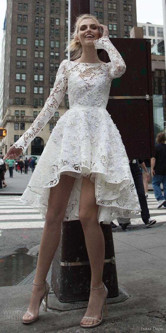 Vintage Long Sleeves Lace High Low White Homecoming Dresshigh Low