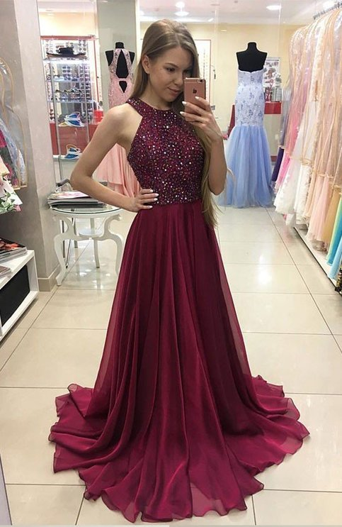 Burgundy Beaded Prom Dresses Celebrity Dresses Banquet