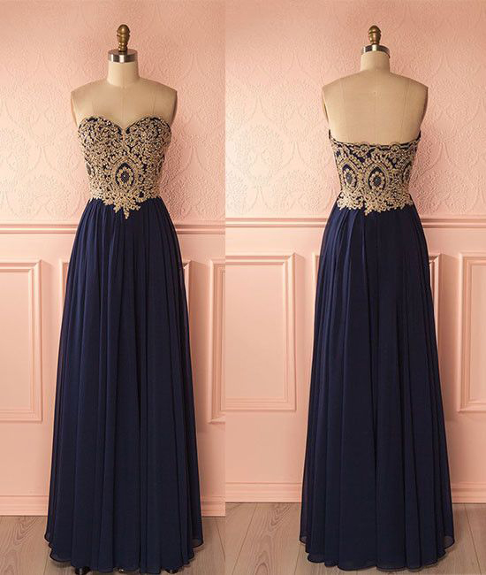 Gold Lace Appliqued Prom Dress Navy Blue Prom Dress Long Formal