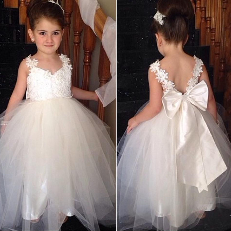 d0124a26286 Cute A-line White Tulle Flower Girl Dress with Ribbon ...