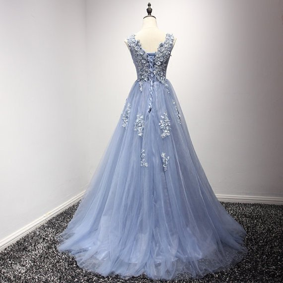 lavender prom dress, long prom dress, tulle prom dress, A-line prom ...