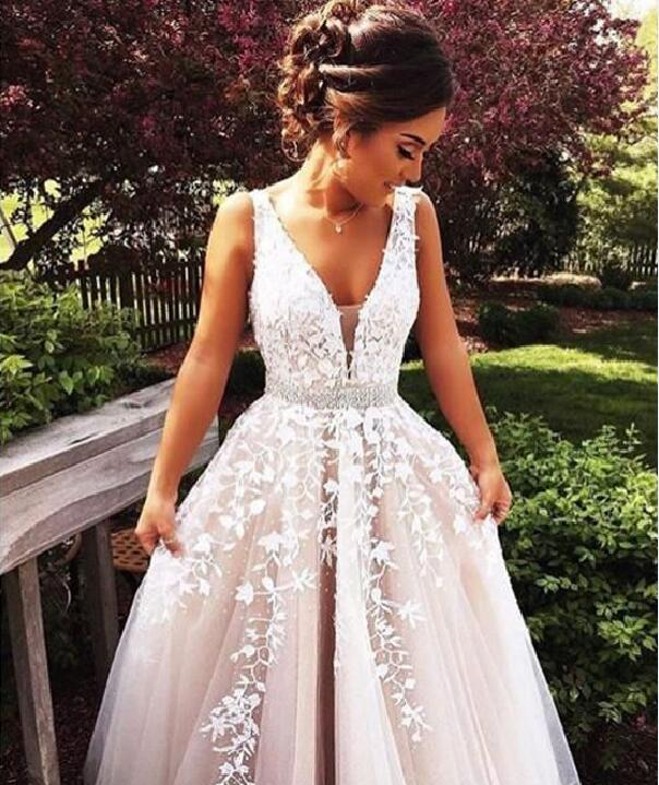 F17 Romance Lace Appliques Prom Gowns, Sexy