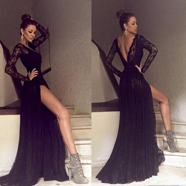 Black Long Sleeves Lace Side Split Sexy V Back Long Prom Dress 9150