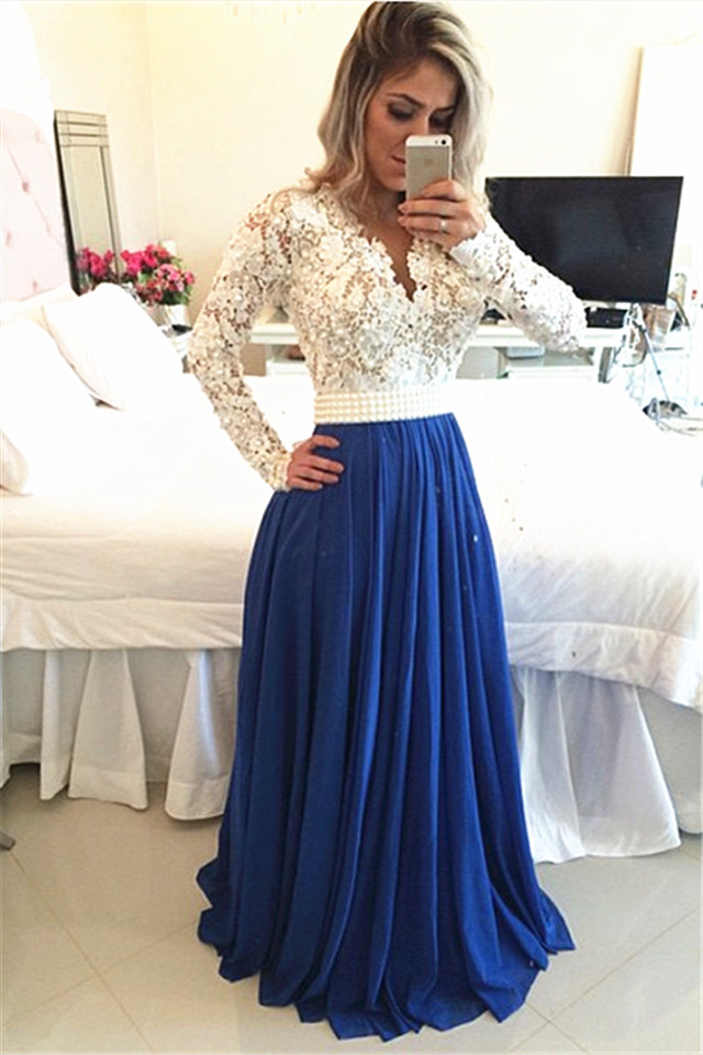 H263 Long Sleeves Lace Pearls Chiffon Prom Dresses V Neck White Blue ...
