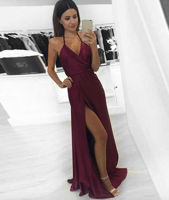 simple v neck burgundy long prom dress, burgundy evening dress,xp83 ...