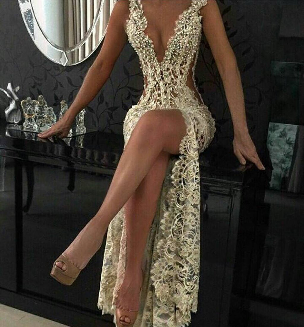 3cc33b58fe8d Sexy Lace Evening Gowns 2017 Sleeveless Beading Split Popular Prom Dresses  on Storenvy