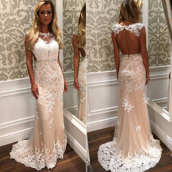 fee88e4a3ab4 Cap sleeve prom dress with beaded belt white open back wedding dress long  lace prom dresses