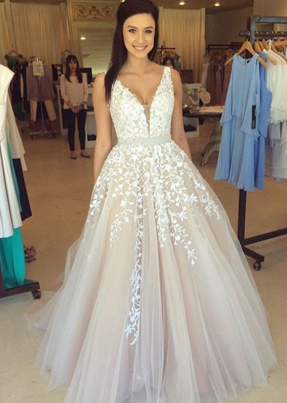 H413 Gorgeous A-line Long Wedding Dress Prom Dress,Lace Appliques ...