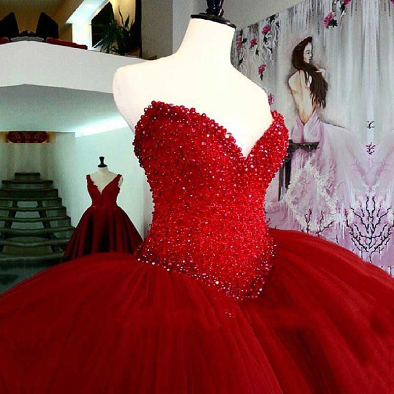 f621e935368 Luxury Heavy Beading Red 2017 Long Puffy Ball Gown Prom Dresses Quinceanera  Dresses