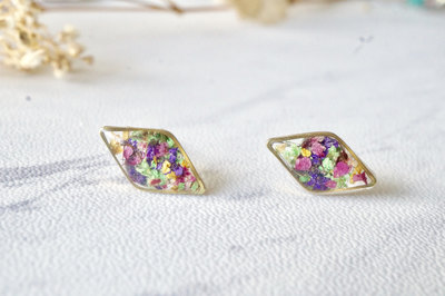 1eb11d945 Real Dried Flowers and Resin Diamond Stud Earrings in Purple Pink Green  Yellow Mix
