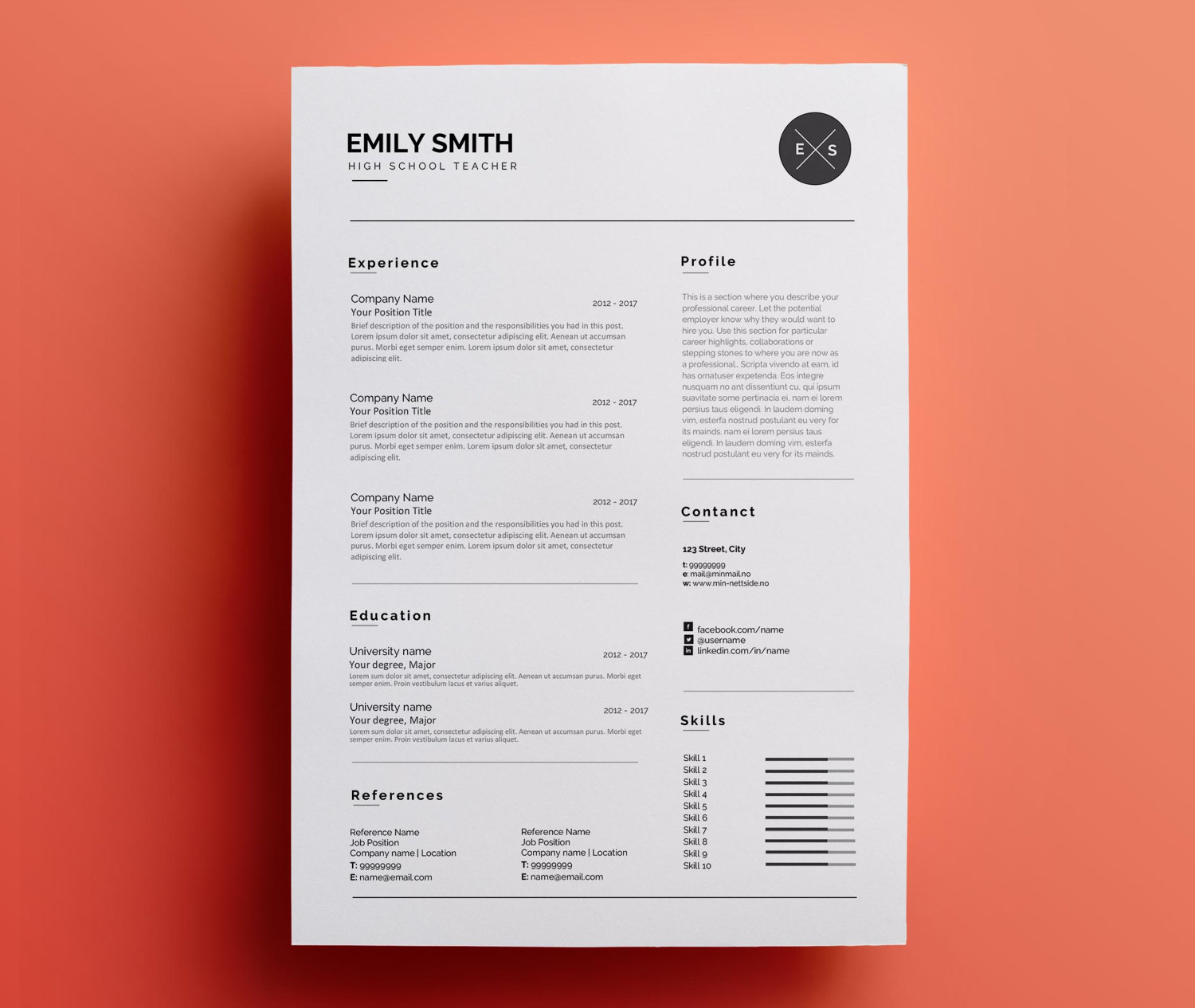 Professional Resume Template For Word Cv Template Teacher Sold By Resumee
