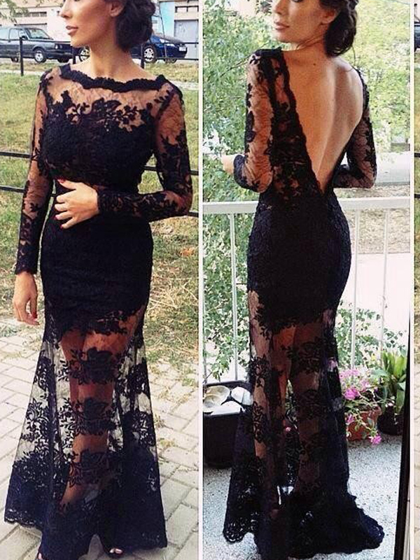 56c9d55877d F100 Sexy Long Sleeve Backless Black Lace Long Evening Dresses