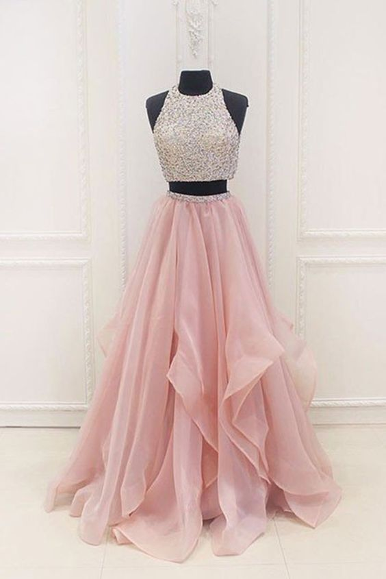 Elegant Prom Dress,Two Piece Prom Dress,Long Prom Dresses,Tulle ...