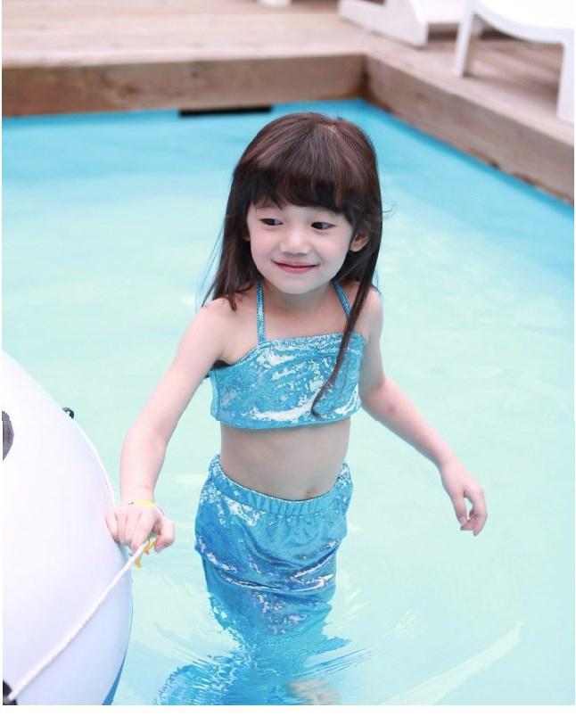 835603fd2b73 Girl Little Mermaid Tail Bikini Set Swimmable Swimming Princess ...