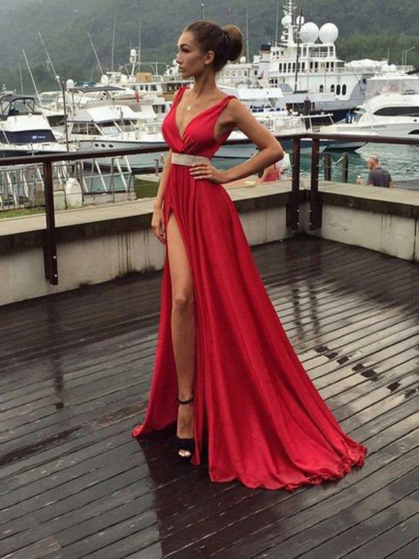 8699bc45b3d9 Red Simple prom dress, Prom Dress With Slip Side,Charming Prom Dress, Deep