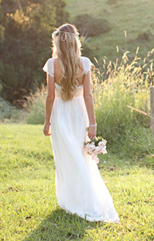 Real Beautiful Long Lace Beach Wedding Dressescheap Wedding Gowns