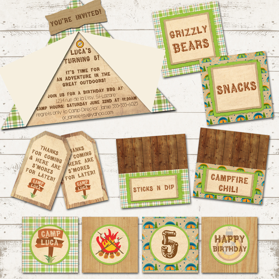 photograph regarding Free Printable Camping Signs named Tenting Birthday Bash Pack - Camp-Out Occasion - Personalized, Printable - Rustic, Vegetables Browns against Valerie Pullam Ideas