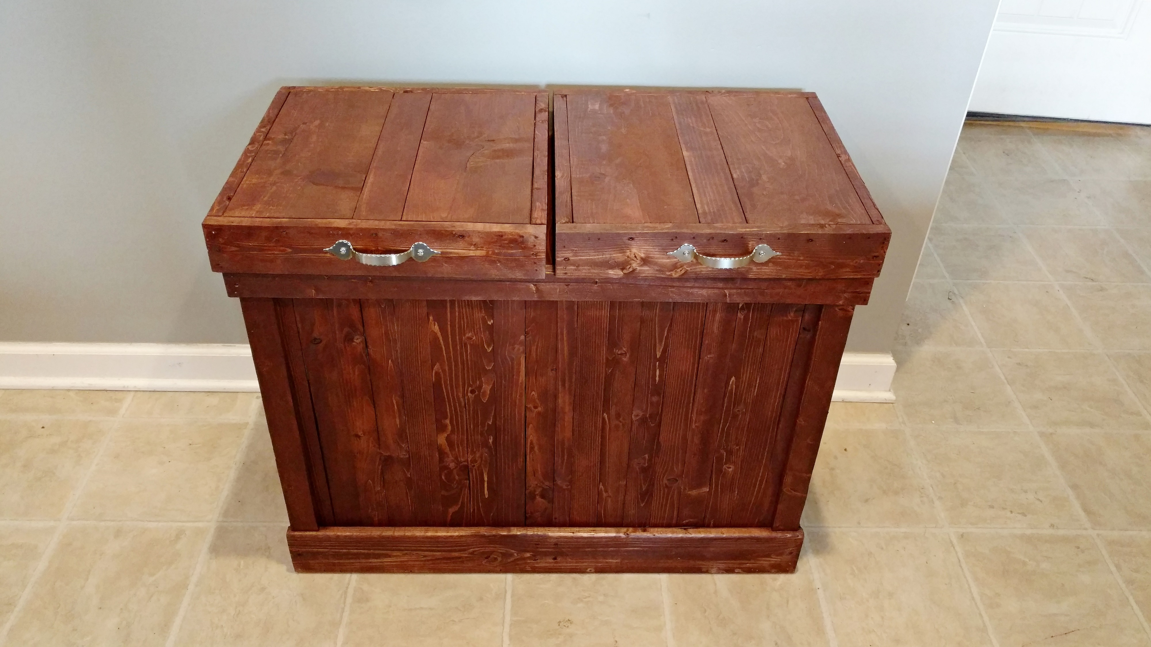 Double Wood Trash Can, Recycling Bin, Rustic Trash Bin, Garbage Can,  Recycling, Kitchen Storage sold by Simply Rustic Furnishings