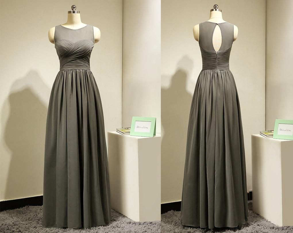 Long Dark Grey Bridesmaid Dress for Wedding Chiffon Elegant ...