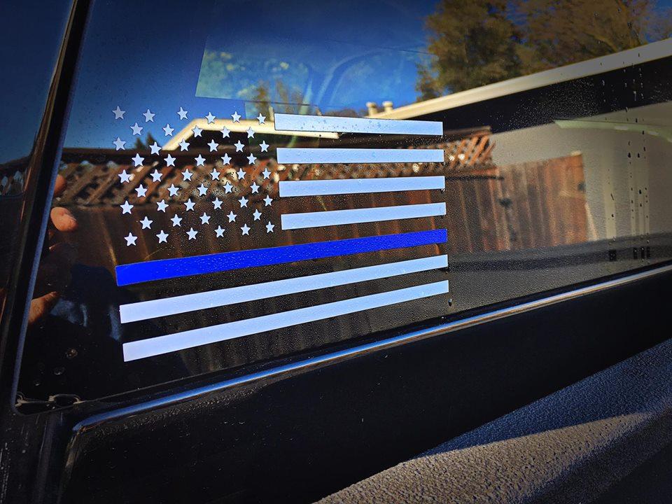 Thin Blue Line Flag Decal 183 American Die Cut Decals