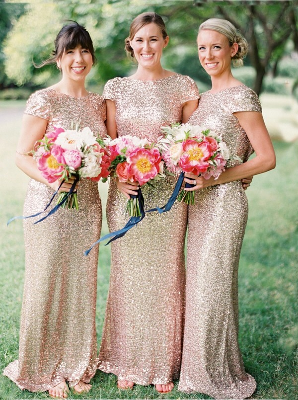 5986ba1e6b P296 Sparkly Mermaid Long Bridesmaid Dress with Cap Sleeves