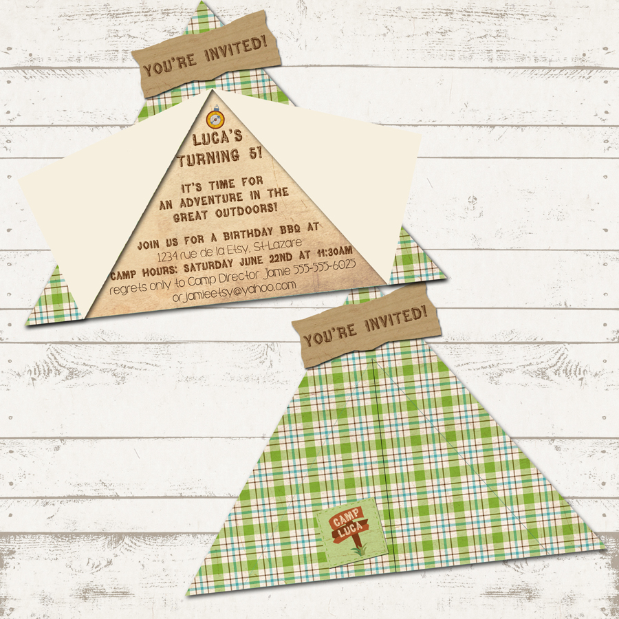 Camping Birthday Party Invitation Camp Out Party Custom