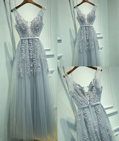 Gray A Line Tulle Long Prom Dress Sexy V Neck Prom Dress