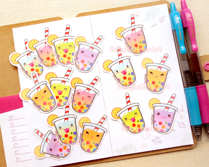 Rainbow Bubble Tea Sticker Kawaii Sticker Tapioca Sticker Planner
